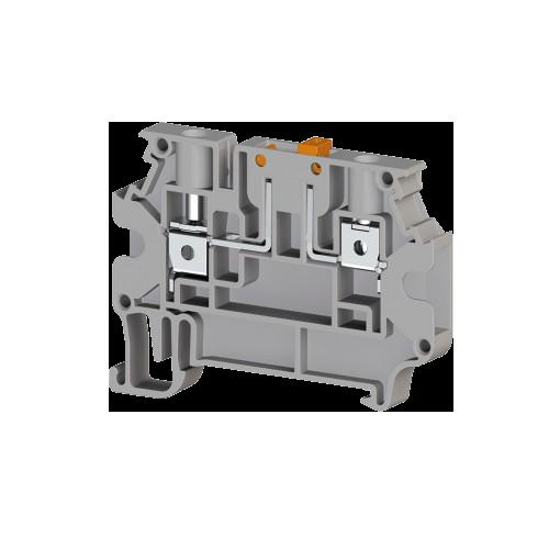 304380, Клеммник 2-х выводной с размыкателем, 4 мм.кв., (серый); AVK 4A (упак 50 шт)