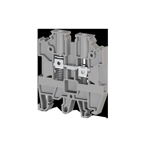 304500, Клеммник на DIN-рейку с пружиной 4мм.кв. (серый); AVK-Y4 (упак 120 шт)