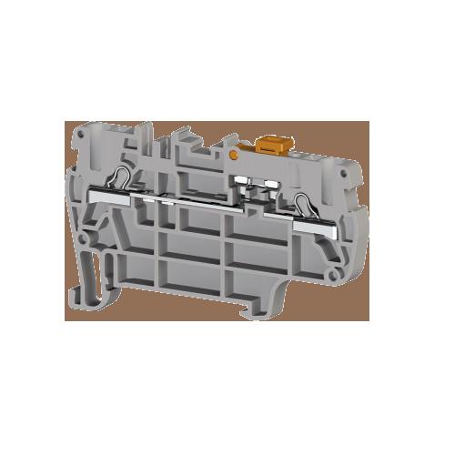 307169, Клеммник пружинный быстрозажимной (Push in) 2,5 мм.кв., с размыкателем (серый); PYK 2,5A (упак 50 шт)