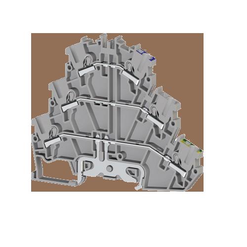 307189, Клеммник пруж.быстрозажимной (Push in) 2-хярусный, с конт. на DIN-рейку, 2,5 мм.кв., (серый); PYK2,5-2FT (упак 30 шт)