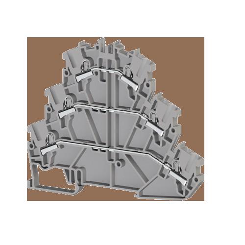 307199, Клеммник 3-х ярусный пружинный быстрозажимной (Push in), 2,5 мм.кв. (серый); PYK2,5-3F (упак 30 шт)