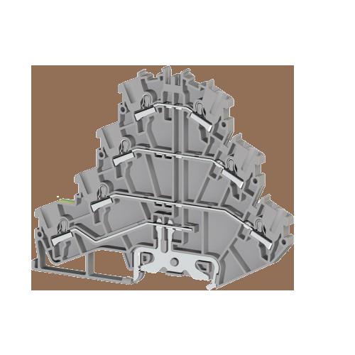 307209, Клеммник пруж.быстрозажимной (Push in) 3-х ярусный, с конт. на DIN-рейку, 2,5 мм.кв., (серый); PYK2,5-3FT (упак 30 шт)