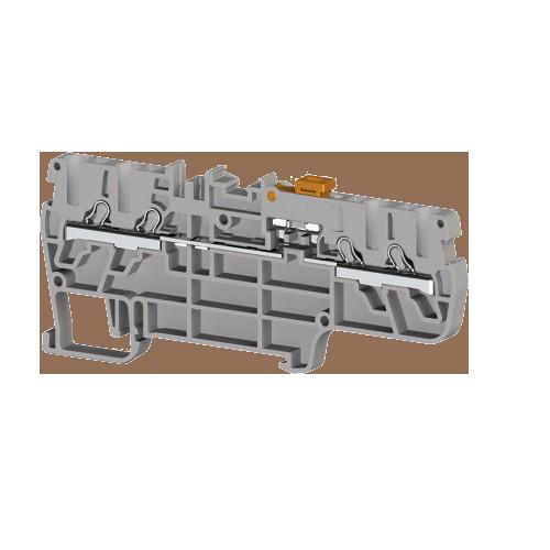 307219, Клеммник пруж.быстрозажимной (Push in) 4-х выводной, с размыкателем, 2,5 мм.кв., (серый); PYK 2,5CCA (упак 60 шт)