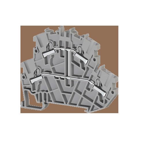 307239, Клеммник пруж.быстрозажимной (Push in) 2-х ярусный, 2,5мм.кв., с внутр.перемычкой, (серый); PYK2,5-2FK (упак 40 шт)
