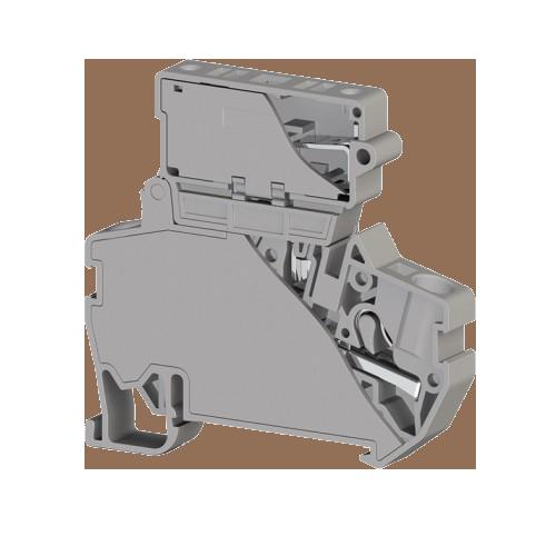 307249, Клеммник пруж.быстрозажимной (Push in) с держ.предохр.(5х20), 4 мм.кв., (серый); PYK 4S (5x20) (упак 15 шт)