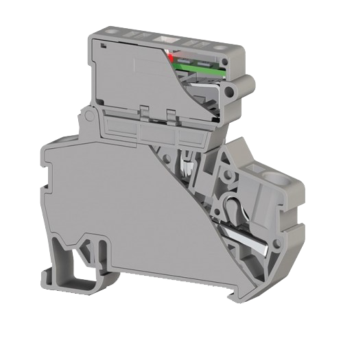 307259, Клеммник пруж.б-зажим. (Push in) с держ.пред.(5х20) с инд. 24VDC, 4 мм.кв. (серый); PYK 4SLD 24VDC (5×20) (упак 15 шт)