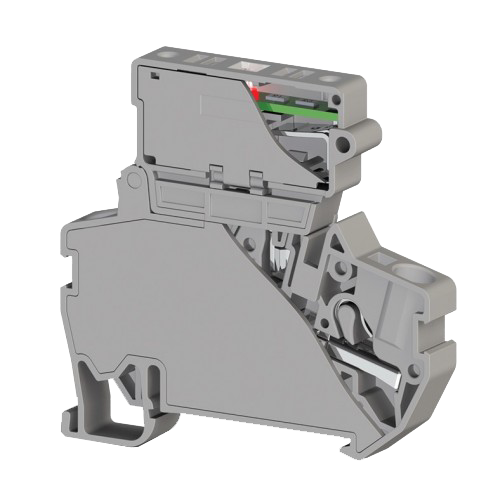 307269, Клеммник пруж.б-зажим. (Push in) с держ.пред.(5х20) с инд. 220VAC, 4 мм.кв. (серый); PYK 4SLD 220VAC (5×20) (упак 15 шт)