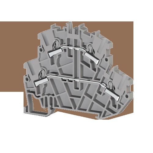 307279, Клеммник 2-х ярусный пружинный быстрозажимной (Push in), 4 мм.кв. (серый); PYK4-2F (упак 25 шт)