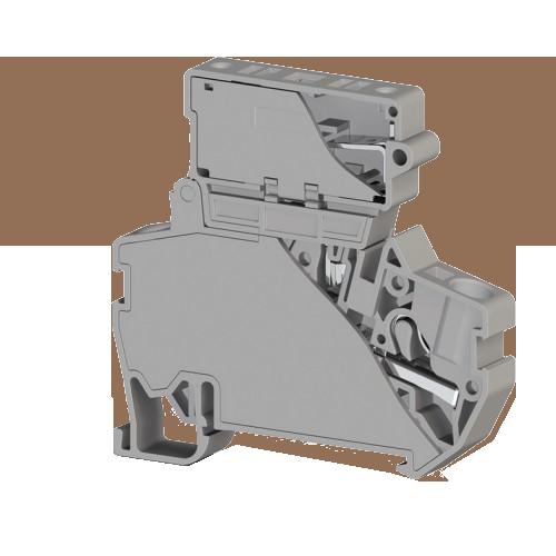 307289, Клеммник пружинный быстрозажимной, (Push in) с держ.предохр.(5х25), 4 мм.кв., (серый); PYK 4S (5x25) (упак 15 шт)
