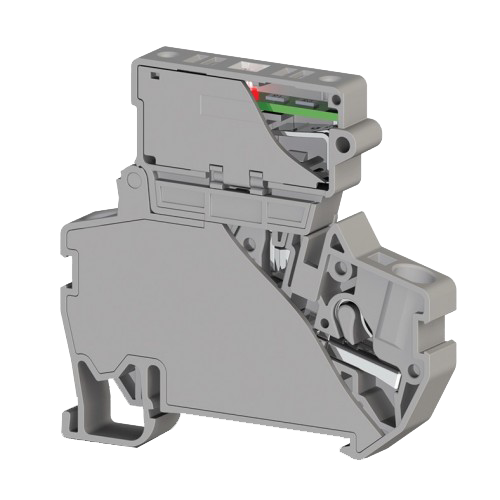 307299, Клеммник пруж.б-зажим. (Push in) с держ.пред.(5х25) с инд. 24VDC, 4 мм.кв. (серый); PYK 4SLD 24VDC (5×25) (упак 15 шт)