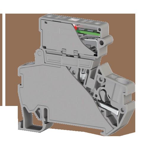307309, Клеммник пруж.б-зажим. (Push in) с держ.пред.(5х25) с инд. 220VAC, 4 мм.кв. (серый); PYK 4SLD 220VAC (5x25) (упак 15 шт)