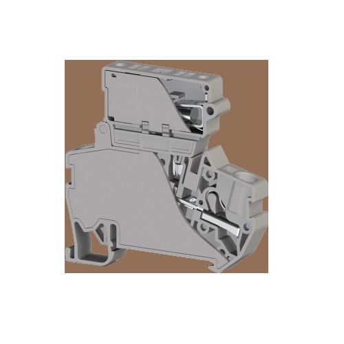 307319, Клеммник пружинный быстрозажимной (Push in) с держ.предохр.(6,3х31,75), 4 мм.кв., (серый); PYK 4I (6,3x31,75) (упак 15 шт)