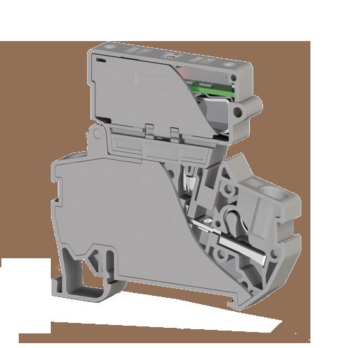 307329, Клеммник пружинный быстрозажимной (Push in) с держ.пред.(6,3х31,75) с инд. 24VDC, 4 мм.кв. (серый); PYK 4ILD 24VDC (6,3х31,75) (упак 15 шт)