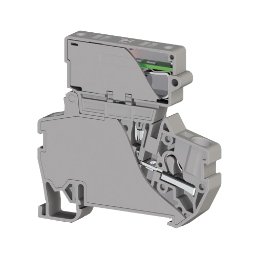 307329, Клеммник пруж.б-зажим. (Push in) с держ.пред.(6,3х31,75) с инд. 24VDC, 4 мм.кв. (серый); PYK 4ILD 24VDC (6,3х31,75) (упак 15 шт)