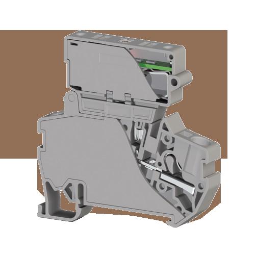 307339, Клеммник пружинный быстрозажимной (Push in) с держ.пред.(6,3х31,75) с инд. 220VAC, 4 мм.кв. (серый); PYK 4ILD 220VAC (6,3х31,75) (упак 15 шт)