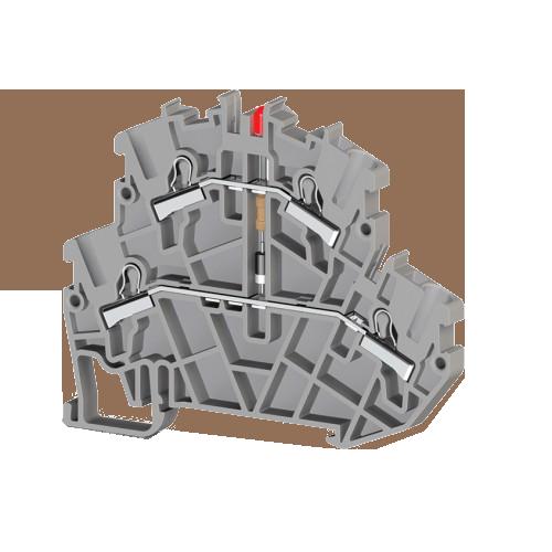 307359, Клеммник пруж.быстрозажимной (Push in) 2-х ярусный, 2,5мм.кв., с индикацией 220VAC, (серый); PYK2,5-2FLD 220VAC (упак 40 шт)
