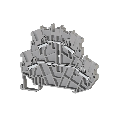 307369, Клеммник пруж.быстрозажимной (Push in) 2-х ярусный, 2,5мм.кв., с диодом, (серый); PYK2,5-2FD A (упак 40 шт)