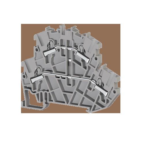307379, Клеммник пруж.быстрозажимной (Push in) 2-х ярусный, 2,5мм.кв., с диодом, (серый); PYK 2,5-2FD-B (упак 40 шт)