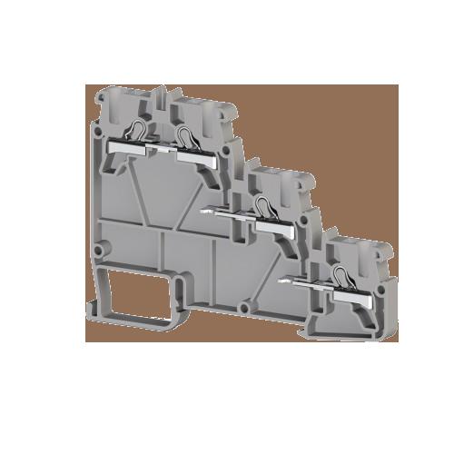 307409, Клеммник пруж.быстрозажимной (Push in) 3-х ярусн. для датчиков, 2,5мм.кв., (серый); PYK 3S (упак 20 шт)