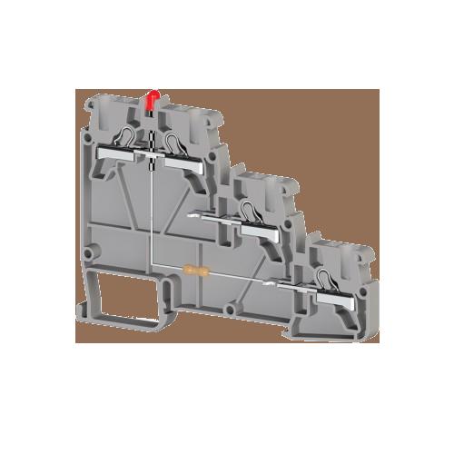 307419, Клеммник пруж.быстрозажимной (Push in) 3-х ярусн. для датчиков, с индикатором 2,5 мм.кв., (серый); PYK 3S NPN 24VDC (упак 20 шт)