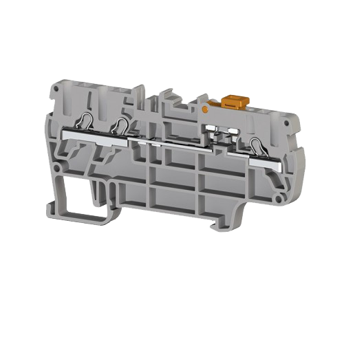307459, Клеммник пруж.быстрозажимной (Push in) 3-х выводной, с размыкателем, 2,5 мм.кв., (серый); PYK 2,5EA (упак 60 шт)