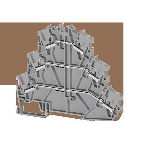 307479, Клеммник 3-х ярусный пруж.быстрозажимной (Push in), 2,5 мм.кв., с диодом, направление диода A, (серый); PYK 2,5-3FD-A (упак 30 шт)