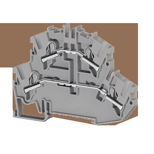 307579, Клеммник 2-х ярусный пружинный быстрозажимной (Push in), 4 мм.кв. (серый); PYK4-2F (упак 25 шт)