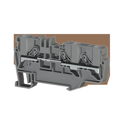 307639, Клеммник пруж.быстрозажимной (Push in), 3-х выводной, 6мм.кв., (серый); PYK 6E (упак 45 шт)