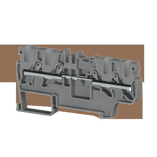 307669, Клеммник пруж.быстрозажимной (Push in) 4-х выводной, 4 мм.кв., (серый); PYK 4C (упак 45 шт)