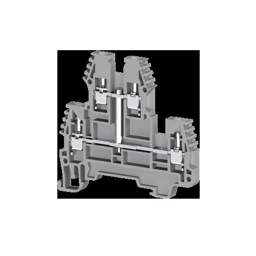 317129, Клеммник 2-х ярусный, 2,5 мм.кв., с внутр.перемычкой, (серый); PIK2,5NK (упак 20 шт)