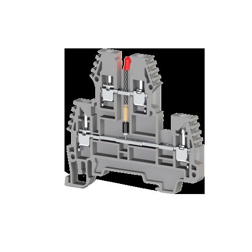 317619, Клеммник 2-х ярусный, 2,5 мм.кв., с индикацией 110 VAC, (серый); PIK2,5 NLD 110VAC (упак 20 шт)