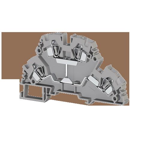 318129, Клеммник 2-х ярусный пружинный 4мм.кв., с внутр.перемычкой, (серый); YBK4-2FK (упак 20 шт)