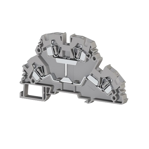 318109, Клеммник 2-х ярусный пружинный 4мм.кв. (серый); YBK4-2F (упак 50 шт)