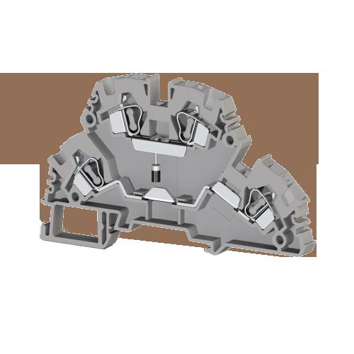 318219, Клеммник 2-х ярусный пружинный, 4 мм.кв., с диодом, (серый); YBK4-2FD-A (упак 20 шт)