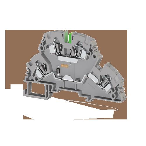318319, Клеммник 2-х ярусный пружинный, 4 мм.кв., с индикацией 24 VAC, (серый); YBK4-2 FLD 24VAC (упак 20 шт)