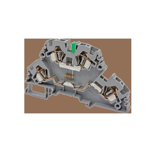 318629, Клеммник 2-х ярусный пружинный, 4 мм.кв., с индикацией 110 VDC, (серый); YBK4-2 FLD 110VDC (упак 20 шт)