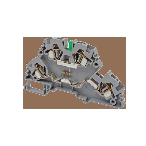 318719, Клеммник 2-х ярусный пружинный, 4 мм.кв., с индикацией 220 VAC, (серый); YBK4-2 FLD 220VAC (упак 20 шт)
