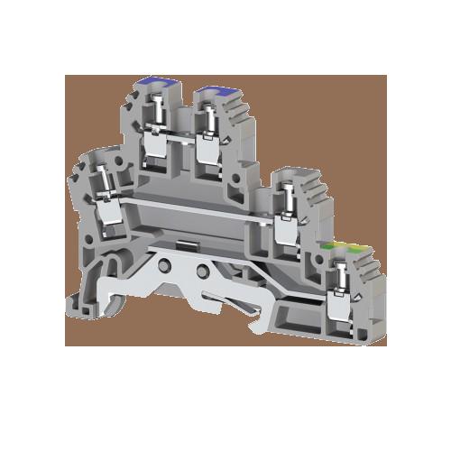 324209T, Клеммник 2-х ярусный с контактом на рейку, 2,5мм.кв., (серый); PUK 2Т-1 (упак 20 шт)