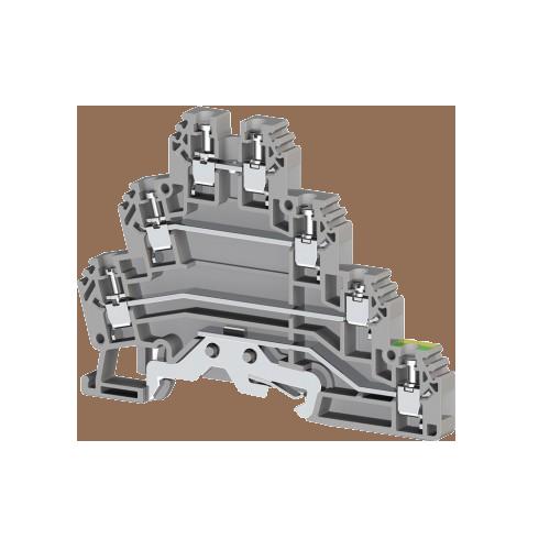 324309, Клеммник 3-х ярусный с контактом на рейку, 2,5мм.кв., (серый); PUK 3Т (упак 20 шт)