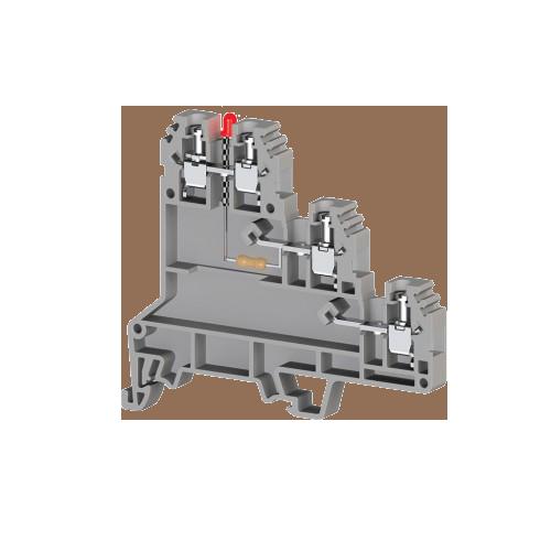 324429, Клеммник 3-х ярусный для датчиков, 2,5мм.кв., с индикацией 24 VDC, (серый); PUK 3 SLD (PNP) (упак 20 шт)