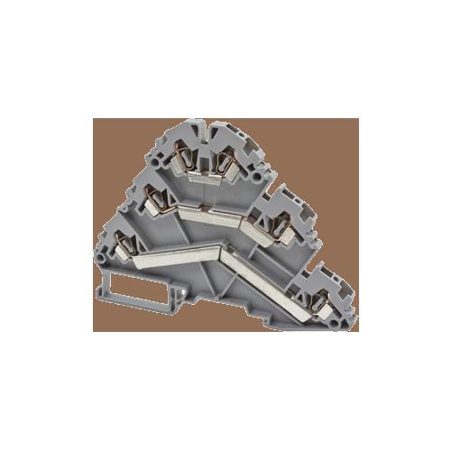324500, Клеммник пружинный 3-х ярусный, 2,5мм.кв., (бежевый); YBK 2,5-3 F (упак 30 шт)