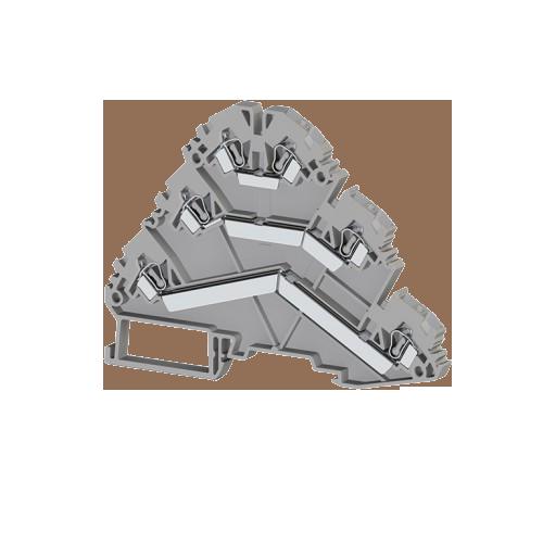 324509, Клеммник пружинный 3-х ярусный, 2,5мм.кв., (серый); YBK 2,5-3 F (упак 30 шт)