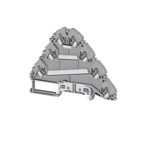 324609, Клеммник пружинный 3-х ярусный с контактом на рейку, 2,5мм.кв., (серый); YBK 2,5-3 FT (упак 20 шт)