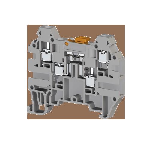 324939, Клеммник 4-х выводной с размыкателем, 2,5 мм.кв., (серый); AVK 2,5 CCA (упак 80 шт)