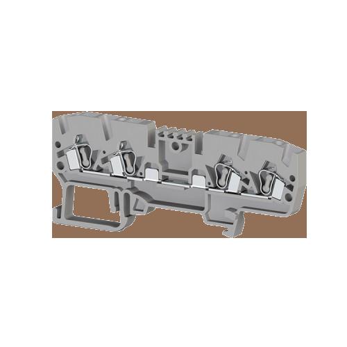 326209, Клеммник пружинный 4-х выводной, без внутр. соединения, 2,5 мм.кв., (серый); YBK 2,5CX2 (упак 50 шт)