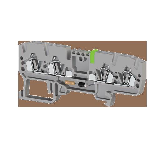 326319, Клеммник пружинный 4-х выводной, с индикацией 24 VAC, 2,5 мм.кв., (серый); YBK 2,5 CLD 24VAC (упак 50 шт)