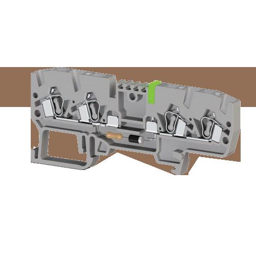 326329, Клеммник пружинный 4-х выводной, с индикацией 24 VDC, 2,5 мм.кв., (серый); YBK 2,5 CLD 24VDC (упак 50 шт)