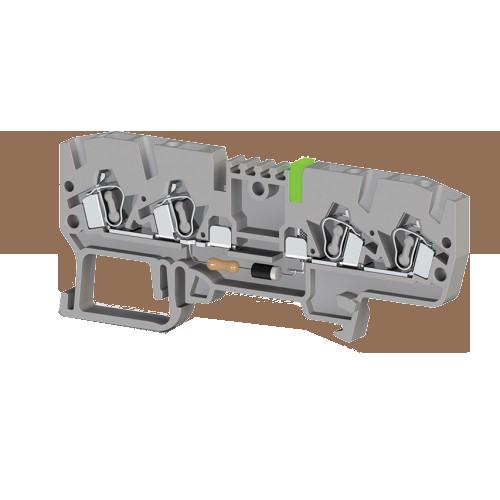 326619, Клеммник пружинный 4-х выводной, с индикацией 110 VAC, 2,5 мм.кв., (серый); YBK 2,5 CLD 110VAC (упак 50 шт)