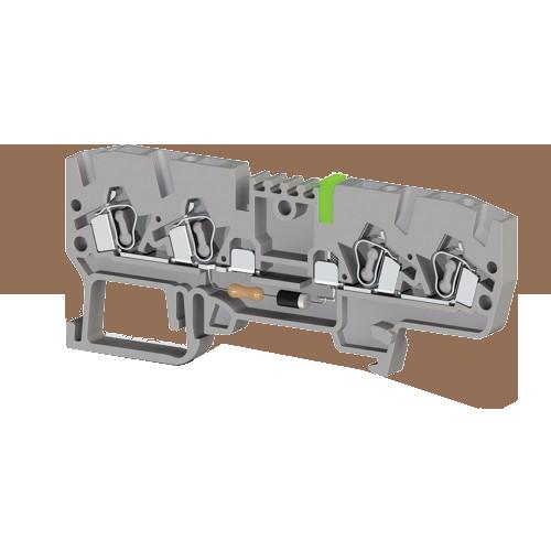 326719, Клеммник пружинный 4-х выводной, с индикацией 220 VAC, 2,5 мм.кв., (серый); YBK 2,5 CLD 220VAC (упак 50 шт)